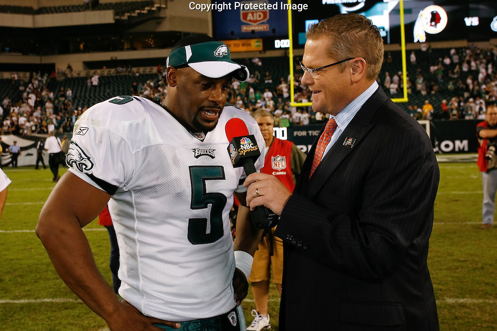 21 Sept 2008: Philadelphia Eagles quarterback Donovan McNabb #5 is interviewed by NBC Sports after the game against the Pittsburgh Steelers on September 21st, 2008.  The Eagles won 15-6 at Lincoln Financial Field in Philadelphia Pennsylvania.