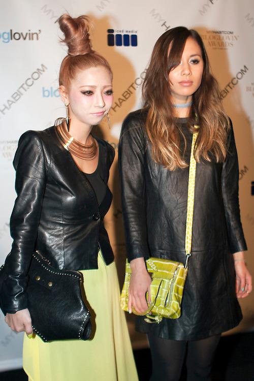 Japanese blogger Momoko Ogihara and model Rumi Neely arrive at the Bloglovin Awards at the Edison Ballroom during day three at AW 2012 New York Fashion Week, NY, USA. February 12, 2012.