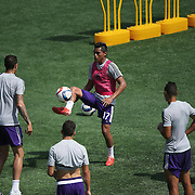 Darwin Ceren kicks the ball during the Orlando City Soccer club MLS practice at the Florida Citrus Bowl on Wednesday, March 4, 2015 in Orlando ,Florida. The first season for the Lions is scheduled to begin on March 8, and over 60,000 tickets have been sold for the home opener, though a league wide player strike may occur prior to the beginning of the scheduled season. (AP Photo/Alex Menendez)