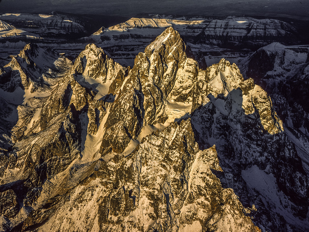 The Cathedral Group, morning light, January, aerial view, Grand Teton National Park, Wyoming, USA