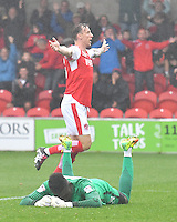 Fleetwood Town's Martyn Woolford celebrates scoring his team's second goal<br /> <br /> Photographer Dave Howarth/CameraSport<br /> <br /> The EFL Sky Bet League One - Fleetwood Town v Coventry Town - Saturday 3 September 2016 - Highbury Stadium - Fleetwood<br /> <br /> World Copyright © 2016 CameraSport. All rights reserved. 43 Linden Ave. Countesthorpe. Leicester. England. LE8 5PG - Tel: +44 (0) 116 277 4147 - admin@camerasport.com - www.camerasport.com