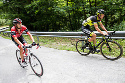 Matej Mugerli (SLO) of Amplatz - BMC and Michael Kukrle (CZE) of Elkov-Author Cycling team during Stage 3 of 24th Tour of Slovenia 2017 / Tour de Slovenie from Celje to Rogla (167,7 km) cycling race on June 16, 2017 in Slovenia. Photo by Vid Ponikvar / Sportida