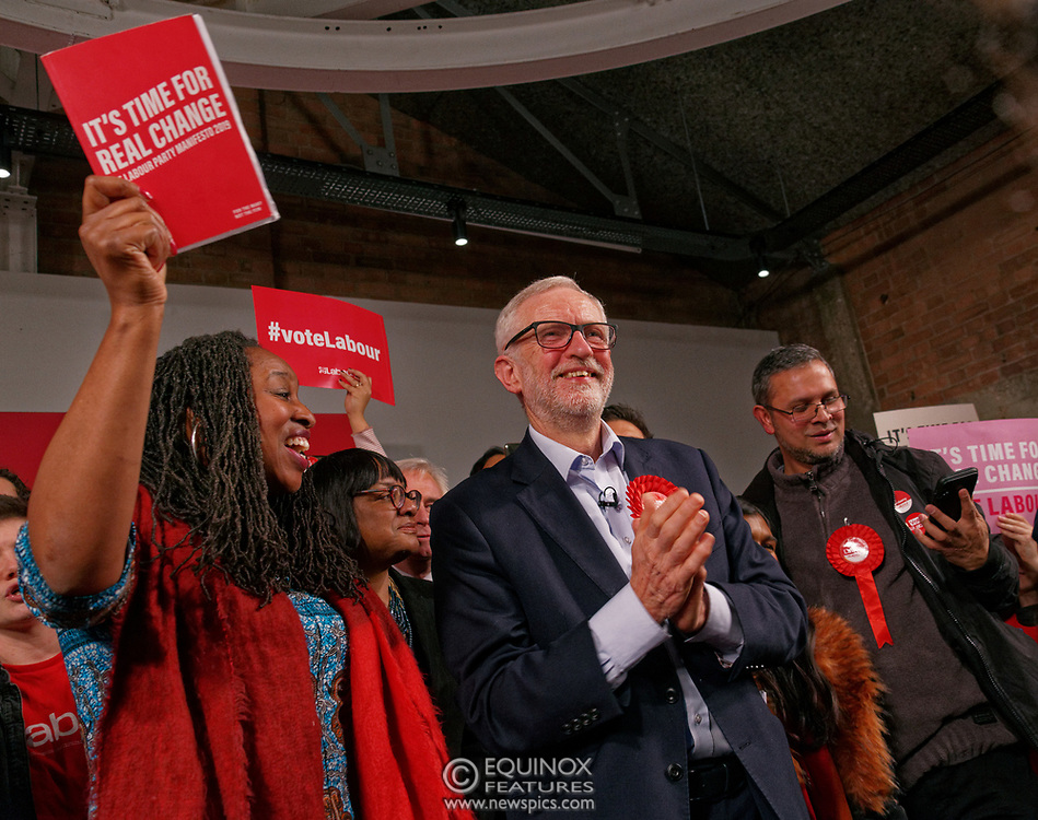 London, United Kingdom - 11 December 2019<br /> Labour Party leader Jeremy Corbyn speaking at their final campaign rally before the General Election 2019 at Hoxton Docks, London, England, UK.<br /> (photo by: EQUINOXFEATURES.COM)<br /> Picture Data:<br /> Photographer: Equinox Features<br /> Copyright: ©2019 Equinox Licensing Ltd. +443700 780000<br /> Contact: Equinox Features<br /> Date Taken: 20191211<br /> Time Taken: 21585697<br /> www.newspics.com