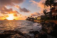 Sunrise, Mokulua Islands, Lanikai Beach, Kailua, Oahu, Hawaii, USA