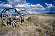 abandoned wagon wheels beside road