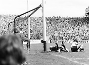 The Kerry goalie lies on the ground after saving the ball during the Kerry v Dublin All Ireland Senior Gaelic Football Final in Croke Park on the 24th of September 1978. Kerry 5-11 Dublin 0-9.