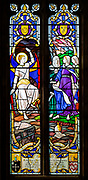 Stained glass window by by Francis Skeat 1965, The Three Marys, Chelmonidiston church, Suffolk, England, UK