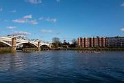 Barnes Greater London. 1st March 2020, Pre Boat Race Fixture, Oxford Brookes leading Cambridge University Boat Club, Goldie through, Barnes Rail Bridge,  Championship Course, Putney to Mortlake, River Thames, [Mandatory Credit: Peter SPURRIER/Intersport Images],
