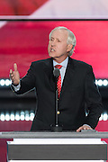 Former National Football League quarterback Fran Tarkenton address delegates on the final day of the Republican National Convention July 21, 2016 in Cleveland, Ohio.