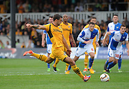 Newport county's Andy Sandell scores the opening goal from a penalty .Skybet League two match, Newport county v Bristol Rovers at Rodney Parade in Newport, South Wales on Saturday 17th August 2013.: . pic by Phil Rees ,Andrew Orchard sports photography,