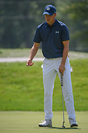 Jordan Spieth (USA) reacts to barely missing his putt on 17 during 2nd round of the World Golf Championships - Bridgestone Invitational, at the Firestone Country Club, Akron, Ohio. 8/3/2018.<br /> Picture: Golffile | Ken Murray<br /> <br /> <br /> All photo usage must carry mandatory copyright credit (© Golffile | Ken Murray)