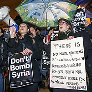Anti War- Syria Demo in Sauchiehall Street.  Picture Robert Perry for The Herald and  Evening Times  3rd Dec 2015<br /> <br /> Must credit photo to Robert Perry<br /> FEE PAYABLE FOR REPRO USE<br /> FEE PAYABLE FOR ALL INTERNET USE<br /> www.robertperry.co.uk<br /> NB -This image is not to be distributed without the prior consent of the copyright holder.<br /> in using this image you agree to abide by terms and conditions as stated in this caption.<br /> All monies payable to Robert Perry<br /> <br /> (PLEASE DO NOT REMOVE THIS CAPTION)<br /> This image is intended for Editorial use (e.g. news). Any commercial or promotional use requires additional clearance. <br /> Copyright 2014 All rights protected.<br /> first use only<br /> contact details<br /> Robert Perry     <br /> 07702 631 477<br /> robertperryphotos@gmail.com<br /> no internet usage without prior consent.         <br /> Robert Perry reserves the right to pursue unauthorised use of this image . If you violate my intellectual property you may be liable for  damages, loss of income, and profits you derive from the use of this image.