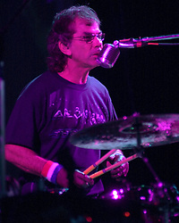 Mickey Hart, Drummer, singing with The Dead in concert at the Hartford Meadows 21 June 2003