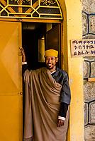 A monk at Kebran Gabriel, an island monastery on Lake Tana. Established in 14th century. Near the city of Bahir Dar, Ethiopia.