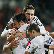 Besiktas's Hugo ALMEIDA (C) celebrate his goal with team mate during their Turkish Superleague Derby match Besiktas between Fenerbahce at the Inonu Stadium at Dolmabahce in Istanbul Turkey on Thursday, 207 October 2011. Photo by TURKPIX