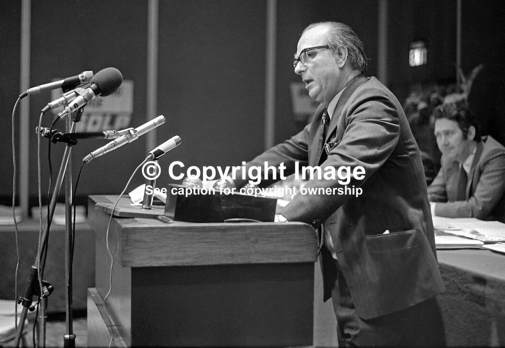 Gerry Fitt, leader, SDLP, Social Democratic & Labour Party, speaking at his party's annual conference in the Europa Hotel, Belfast, N Ireland, UK, 197501000098GF1<br /> <br /> Copyright Image from Victor Patterson, Belfast, UK<br /> <br /> t: +44 28 9066 1296 (from Rep of Ireland 048 9066 1296)<br /> m: +44 7802 353836<br /> e: victorpattersonbelfast@gmail.com<br /> <br /> www.images4media.com<br /> <br /> Please see my full Terms and Conditions of Use at https://www.images4media.com/p/terms-conditions - it is IMPORTANT that you familiarise yourself with them.<br /> <br /> Images used online incur an additional cost. This cost should be agreed in writing in advance. Online images must be visibly watermarked i.e. © Victor Patterson or that of the named photographer within the body of the image. The original metadata must not be deleted from images used online.<br /> <br /> This image is only available for the use of the download recipient i.e. television station, newspaper, magazine, book publisher, etc, and must not be passed on to a third party. It is also downloaded on condition that each and every usage is notified within 7 days to victorpattersonbelfast@gmail.com.<br /> <br /> The right of Victor Patterson (or the named photographer) to be identified as the author is asserted in accordance with The Copyright Designs And Patents Act (1988). All moral rights are asserted.