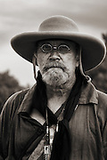 A Buckskinner at the historic Fort Bridger Rendezvous in Southern Wyoming in late summer.
