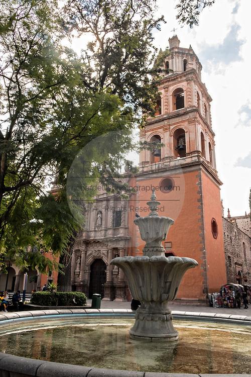 The Baroque façade of the Templo de San Francisco or San Francisco Church along the Guerrero Garden in the state capital of San Luis Potosi, Mexico.