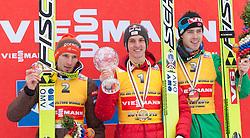 24.03.2013, Planica, Kranjska Gora, SLO, FIS Ski Sprung Weltcup, Skifliegen, Gesamtwertung Skifliegen, im Bild Robert Kranjec (SLO, 2. Platz), Gregor Schlierenzauer (AUT, Sieger Gesamtwertung Skifliegen) und Andreas Stjernen (NOR, 3. Platz) after of the FIS Skijumping Worldcup Flying Hill, Planica, Kranjska Gora, Slovenia on 2013/03/24. EXPA Pictures © .2012, PhotoCredit: EXPA/ Juergen Feichter