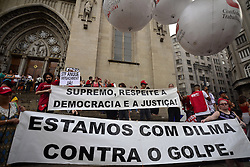 November 12, 2016 - SãO Paulo, São Paulo, Brazil - SAO PAULO, BRAZIL -  BRAZIL-PROTEST-TEMER :Protesters carried out an act against measures of the federal government of Michel Temer, this Saturday (12), in São Paulo. The national protest is organized by the Popular and Central Brazil Front, and counts with the support of all the social movements, students and union centrals. The main agenda is PEC 55, which limits public spending for the next 20 years. (Credit Image: © Cris Faga via ZUMA Wire)