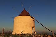 Traditional windmill at dusk, Vejer de la Frontera, Cadiz Province, Spain