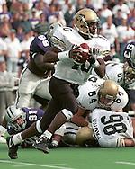 Colorado quarterback Kordell Stewart (10) rushes outside against Kansas State at KSU Stadium in Manhattan, Kansas in 1994.