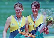 Lucerne, Switzerland. 1995 FISA WC III, Lake Rottsee, Lucerne,<br /> Left. AUS W2-. Kate SLATTER and Megan STILL.<br /> [Mandatory Credit. Peter SPURRIER/Intersport Images]<br /> <br /> Image scanned from Colour Negative