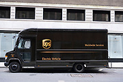 UPS electric vehicle delivery van on 5th March 2021 in London, England, United Kingdom. United Parcel Service is well known for utilising electric vans for its courier services, which is good for the brand and also now makes commercial sense as the vans now cost no more than regular diesel vehicles.