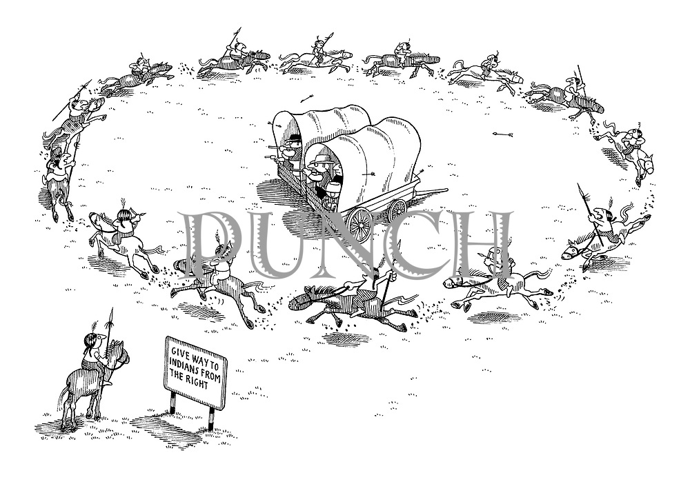 (A Wild West scene with settlers being attacked by Indians circling round two covered wagons. A sign read 'Give way to Indians from the right')