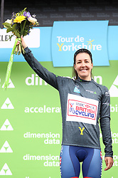 Team GB Cycling's Dani Rowe with the Most Active jersey during day two of the ASDA Women's Tour de Yorkshire from Barnsley to Ilkley.