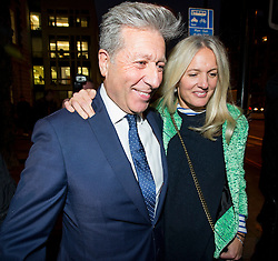 © Licensed to London News Pictures. 14/12/2015. London, UK. Radio DJ NEIL FOX, aka Dr Fox, smiling as he leaves Westminster Magistrates Court in London with his wife VICKY FOX, where he was found not guilty on 10 separate charges of indecent assault and sexual assault. Photo credit: Ben Cawthra/LNP