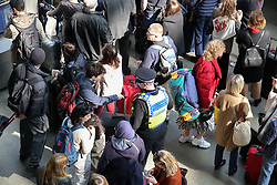 March 30, 2019 - London, UK, UK - London, UK. Thousands of travellers at London St Pancras as Eurostar suspends all trains to and from London. The travellers face severe delays and cancellations after a man spent the night on the roof of London's St Pancras Station. British Transport Police arrested a 44-year-old man this morning after he made his way onto the overhead viaduct of the station. (Credit Image: © Dinendra Haria/London News Pictures via ZUMA Wire)