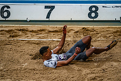 Rafael Raap in action on long jump during the Dutch Athletics Championships on 13 February 2021 in Apeldoorn