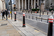 New social distance bollards have widened the pavement to allow for social distancing in Threadneedle Street during the second wave of the Coronavirus pandemic, on 26th October 2020, in London, England.