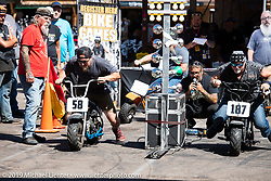 Minibike drag races sponsored by Cycle Source at the Iron Horse Saloon during the Sturgis Motorcycle Rally. SD, USA. Friday, August 13, 2021. Photography ©2021 Michael Lichter.