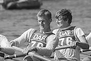 Kingston on Thames, United Kingdom.   Universty of London M8+. UL ,  The final Round of the Leyland Daf Sprint series, at Kingston RC on the River Thames, Surrey, England, <br /> <br /> Saturday 04.05.1987<br /> <br /> [Mandatory Credit; Peter Spurrier/Intersport-images] 1987 Leyland Daf Sprints, Kingston. UK