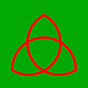 Triquetra, trinity knot illustration. The triquetra is often found in english and irish art, in illuminated manuscripts and as a symbol of trinity in the Christian tradition. From a mathematical point of view the triquetra is a trefoil knot. Red on Green
