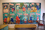 Mural painting of medieval life, Lewes Castle, East Sussex, England