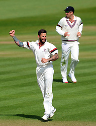 Somerset's Peter Trego celebrates the wicket of Durham's Phil Mustard - Photo mandatory by-line: Harry Trump/JMP - Mobile: 07966 386802 - 13/04/15 - SPORT - CRICKET - LVCC County Championship - Day 2 - Somerset v Durham - The County Ground, Taunton, England.