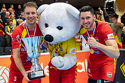 17-02-2019 NED: National Cupfinal Draisma Dynamo - Abiant Lycurgus, Zwolle<br /> Dynamo surprises national champion Lycurgus in cup final and beats them 3-1 / Bart van Garderen #3 of Dynamo, Maikel van Zeist #10 of Dynamo