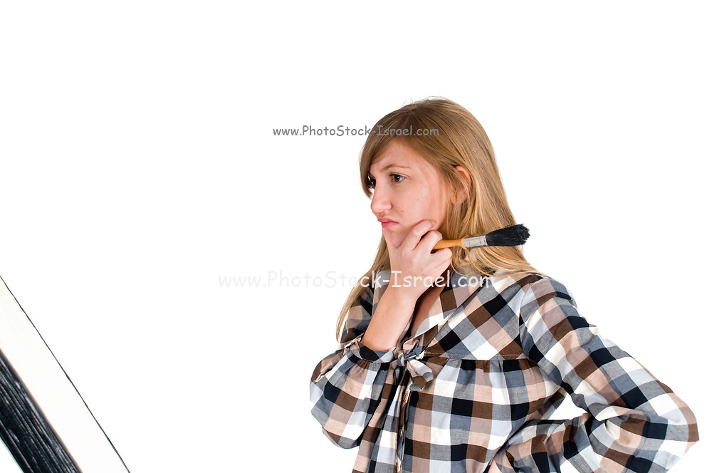 frustrated young artist On white Background
