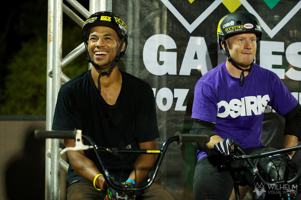 TJ Ellis and Ryan Nyquist during BMX Dirt Practice at the 2013 X Games Foz do Iguacu in Foz do Iguaçu, Brazil. ©Brett Wilhelm/ESPN