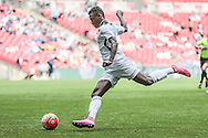 Mustapha Bundu (Hereford FC) crosses the ball into the Morpeth Town box during the FA Vase match between Hereford and Morpeth Town at Wembley Stadium, London, England on 22 May 2016. Photo by Mark Doherty.