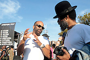 """August 27, 2016- Brooklyn, New York-United States: (L-R) Actor Jeffrey Wright and Recording Artist Cody ChestNutt attend the 2016 AfroPunk Brooklyn Concert Series held at Commodore Barry Park on August 27, 2016 in Brooklyn, New York City. Described by some as """"the most multicultural festival in the US,"""" which includes an eclectic line-up and an audience as diverse as the acts they come to see. (Photo by Terrence Jennings/terrencejennings.com)"""