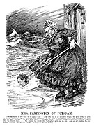 "Mrs Partington of Potsdam. [""In the winter of 1824 there set in a great flood...; the tide rose to an incredible height; the waves rushed upon the houses; and everything was threatened with destruction. In the midst of this sublime storm Dame Partington, who lived upon the beach, was seen at the door of her house...trundling her mop, squeezing out the sea-water and vigorously pushing away the Atlantic Ocean...The Atlantic was roused; Mrs Partington's spirit was up; but I need not tell you that the contest was unequal. The Atlantic beat Mrs Partlington."" - Sydney Smith.] (Wilhelm II uses the head of Karl I of Austria as a Peace Offensive mop at the end WW1)"