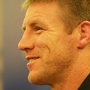 All Black player Brad Thorn during a New Zealand press conference in Auckland at the IRB Rugby World Cup tournament, Auckland, New Zealand, 17th October 2011. Photo Tim Clayton...
