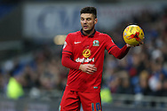 Ben Marshall of Blackburn Rovers prepares to take a throw-in.Skybet football league championship match, Cardiff city v Blackburn Rovers at the Cardiff city stadium in Cardiff, South Wales on Saturday 2nd Jan 2016.<br /> pic by Andrew Orchard, Andrew Orchard sports photography.