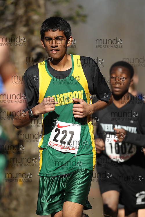 Ravi Patell of Cameron Heights CI competes in the junior boys race at the 2011 OFSAA Cross Country Championships in Ottawa, Ontario, November 5, 2011..GEOFF ROBINS/ Mundo Sport Images