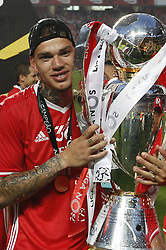 May 13, 2017 - Lisbon, Portugal - Benfica's goalkeeper Ederson hold the cup after winning their 36th title at the end of the Portuguese league football match SL Benfica vs Vitoria Guimaraes SC at the Luz stadium in Lisbon on May 13, 2017. (Credit Image: © Carlos Palma/NurPhoto via ZUMA Press)