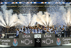 May 6, 2018 - Porto, Porto, Portugal - Porto's team raises the national champion trophy during the Premier League 2017/18 match between FC Porto and CD Feirense, at Dragao Stadium in Porto on May 6, 2018. (Credit Image: © Dpi/NurPhoto via ZUMA Press)
